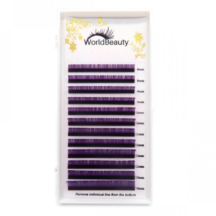 0.07mm D curl Purple color eyelash extensions
