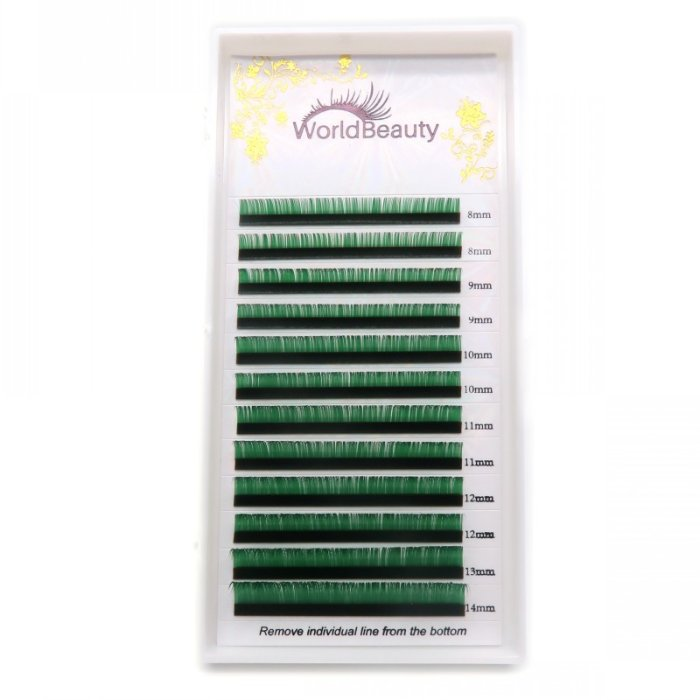0.07mm D curl Green color eyelash extensions