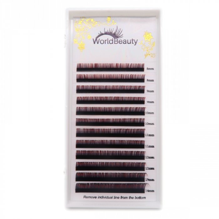 0.07mm D curl Black-Red color eyelash extensions
