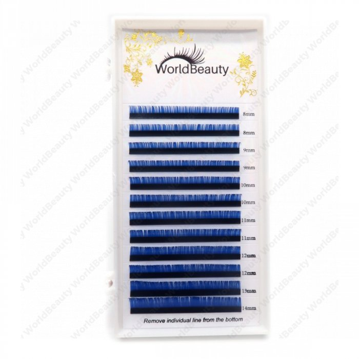 0 07mm D curl Blue color eyelash extensions - World beauty