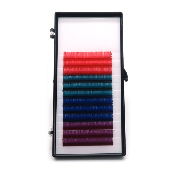0.07mm D curl multi-length colored Auto fan eyelash extensions