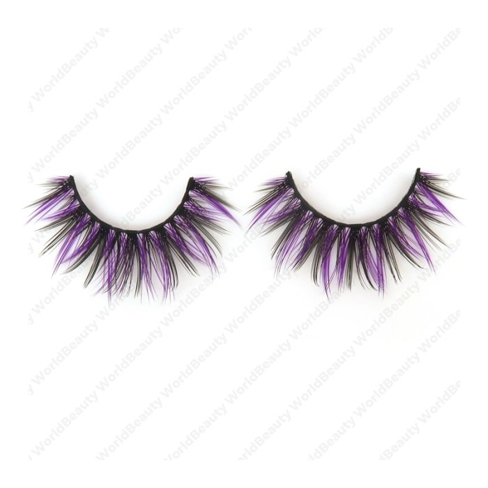 Double layer colored silk false lashes--KSE-232-Z