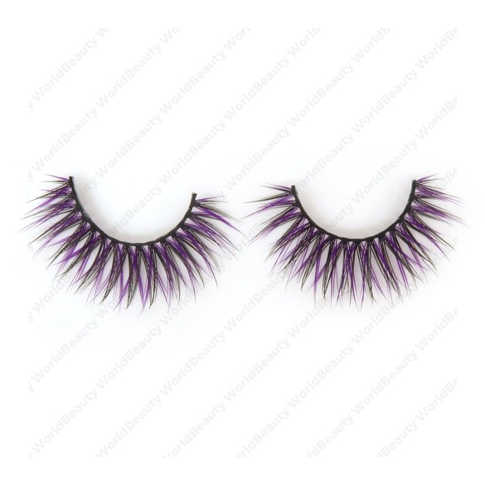 Double layer colored silk false lashes--KSE-221-Z
