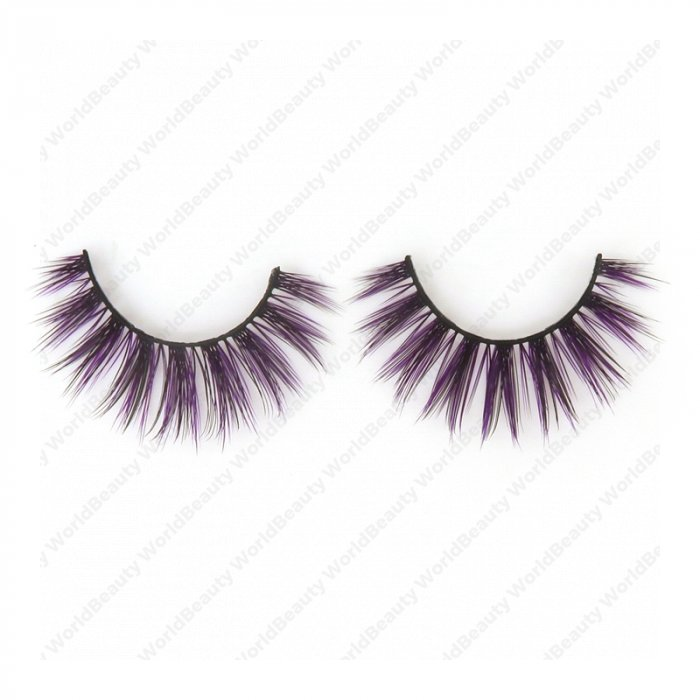 Double layer colored silk false lashes--KSE-218-Z