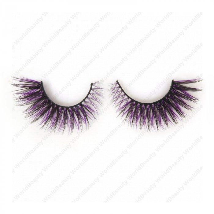 Double layer colored silk false lashes--KSE-228-Z