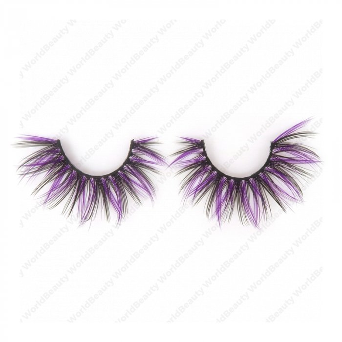 Double layer colored silk false lashes--KSE-230-Z
