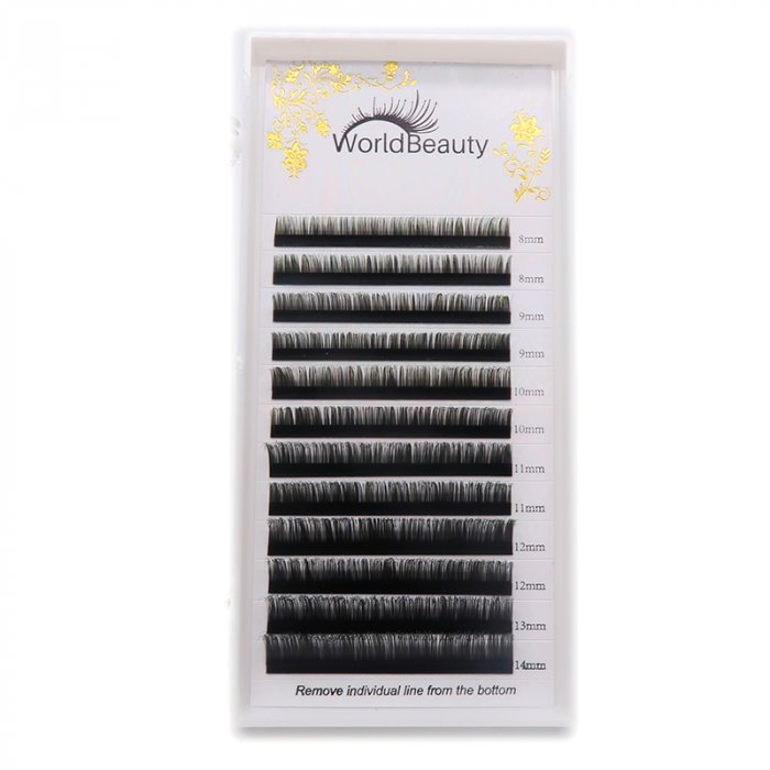 0.07mm D curl Black-Green color eyelash extensions