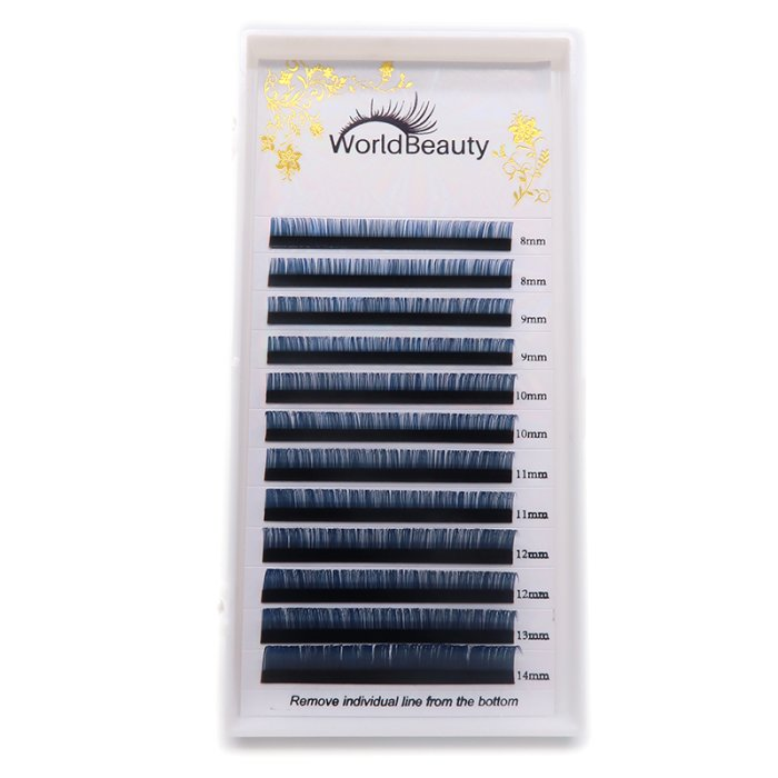 0.07mm D curl Black-Blue color eyelash extensions