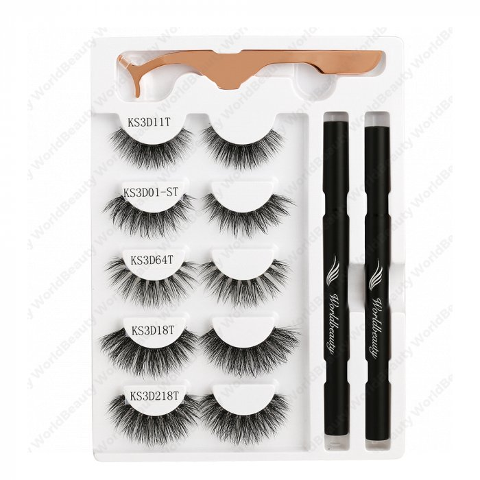 Adhesive eyeliner pen and lashes kit - Set 4