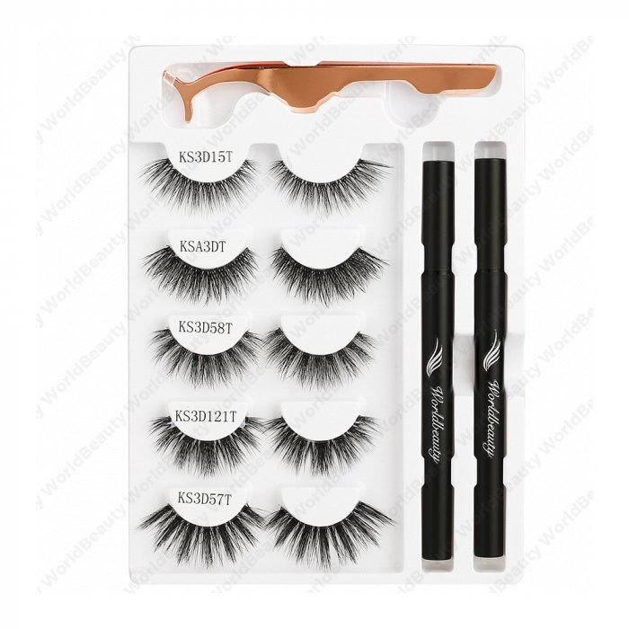 Adhesive eyeliner pen and lashes kit - Set 3