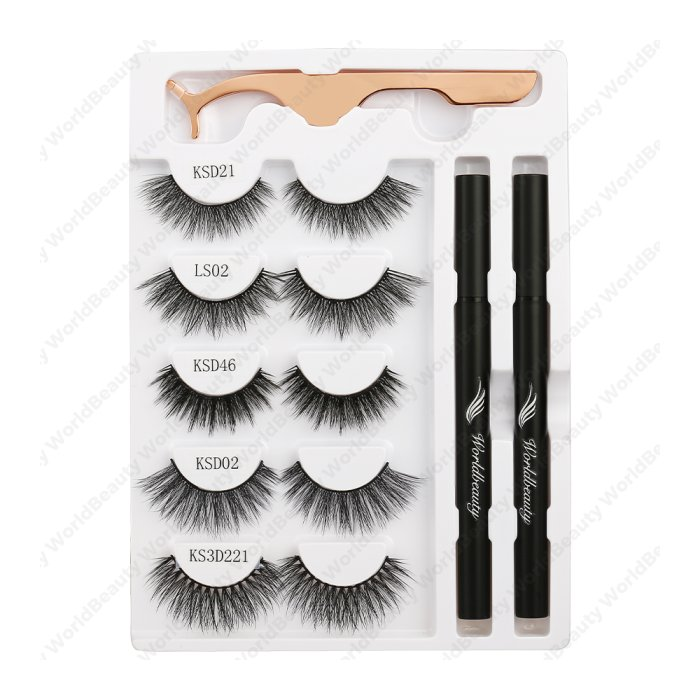 Adhesive eyeliner pen & gm eyelashes-Set 6