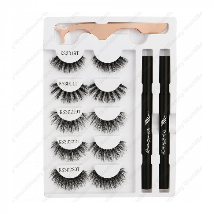 Adhesive eyeliner pen &gm eyelashes -Set 5