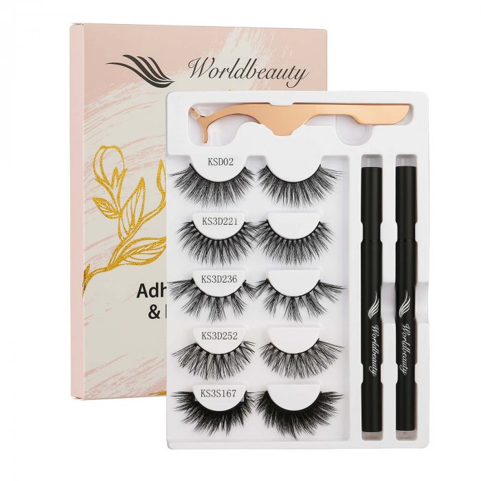 Eyelash glue eyeliner pen and gm eyelash-Set 8