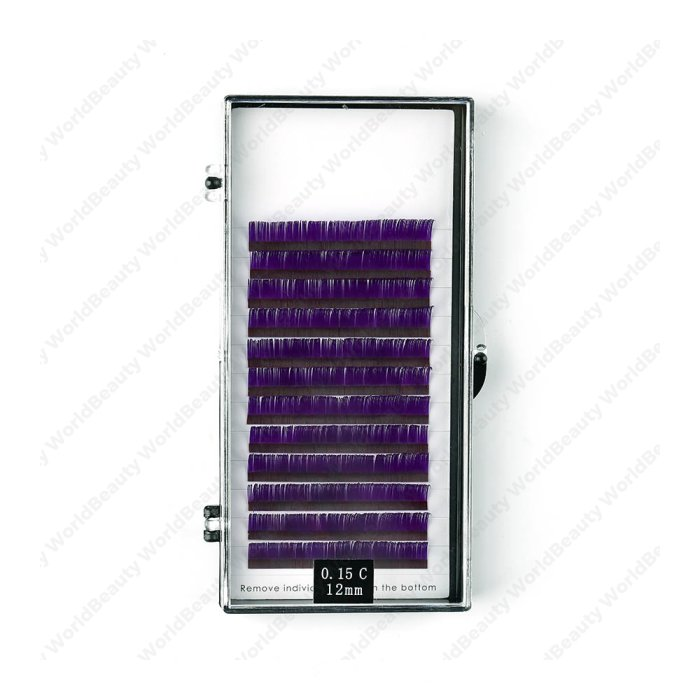Purple colors flat eyelash extension