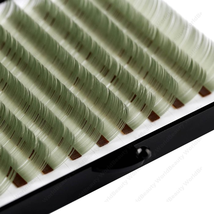 Light green colors flat eyelash extension