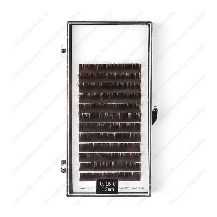 Coffee colors flat eyelash extension